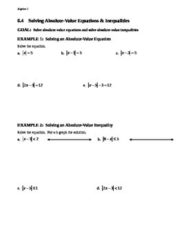 6.4 Solving Absolute-Value Equations & Inequalities