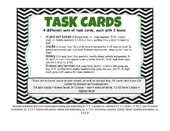 Money, Input/Output, Time & Frames & Arrows. 64 Task Cards - 3 levels