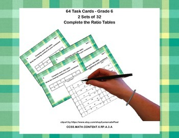 64 Task Cards - Grade 6-Complete the Ratio Tables-CCSS.6.RP.A.3.A