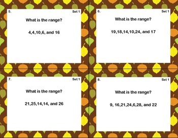 64 Task Cards - Grade 6-Find the Range-CCSS.MATH.CONTENT.6.SP.B.5.C-Owl Theme