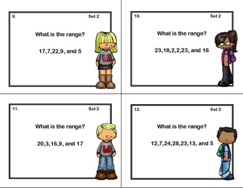 64 Task Cards - Grade 6-Find the Range-CCSS.MATH.CONTENT.6.SP.B.5.C