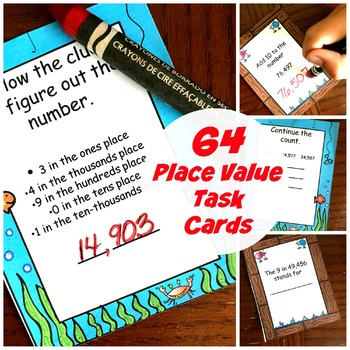 64 Task Cards to Practice Place Value From 10,000 to a Million