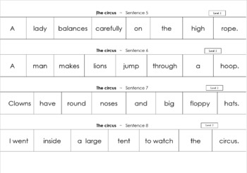 64 themed jumbled sentences on worksheets ranging in difficulty level