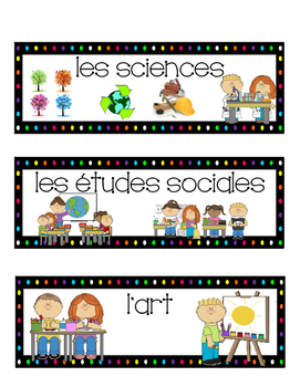 French schedule, visual schedule, timetable, subject cards, (horaire)