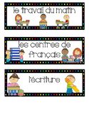 French schedule, visual schedule, timetable, subject cards