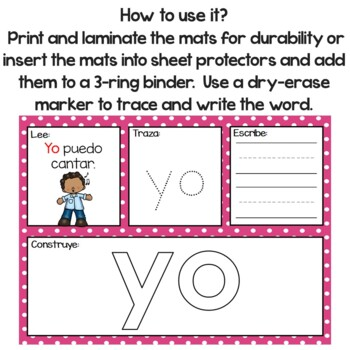65 High Frequency Words  Playdough Mats In Spanish (Read-Trace-Write-Build)