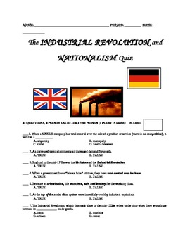 UNIT 10 LESSON 4b. Industrial Revolution QUIZ