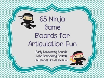 65 Ninja Gameboards for Articulation and Reading