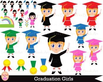 65 PNG Files -Graduation Girls Set Clipart - Digital Clip Art - 300 dpi 056