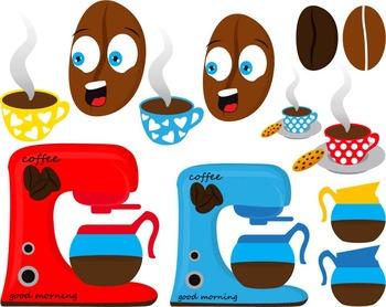 65 PNG Files- Kawaii Coffee Break Clipart - Digital Clip Art (132)