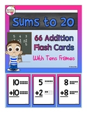 66 Addition Flash Cards - with Tens Frames (Sums to 20)