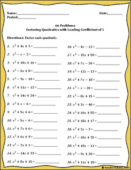 66 Factoring Problems (Leading Coefficient is 1)