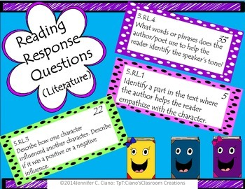 Literature Reading Response Prompts (CCSS 5th)