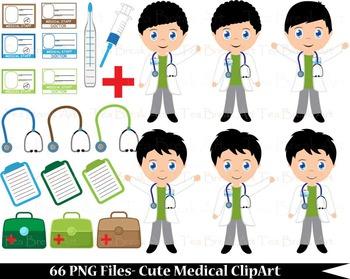 66 PNG -Cute Little Boy Doctors -Digital Clip Art - 300 dpi 110