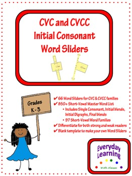 66 Short Vowel Word Sliders