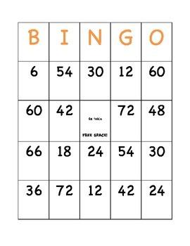 6,7,8 times tables BINGO