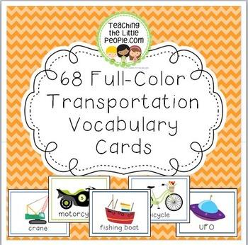 68 Full-Color Transportation Vocabulary Cards