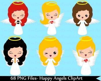 68 PNG Files- Happy Angels ClipArt- Digital Clip Art  128