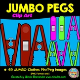 69 JUMBO Clothes Pins - Clothes Pegs Clip Art for Teachers