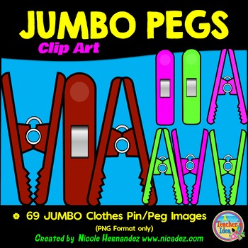 JUMBO Clothes Pins - Clothes Pegs Clip Art for Teachers