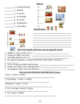 6B Realidades Level 1B quehaceres tener que worksheets