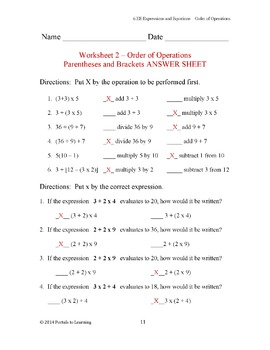 6.EE 1-9 Order of Operations