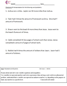 6.EE Expressions and Equations All Standards Sixth Grade Common Core Math Sheets