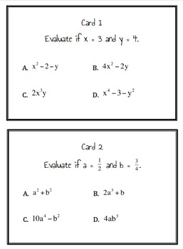 6.EE.1, 6.EE.2c Expressions Sum Game