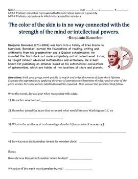 6.EE.1 & 6.EE.2 - Benjamin Banneker (Black History Month Activity)