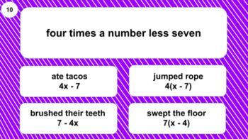6EE2a Digital Mad Lib Math Activity (Writing Expressions)