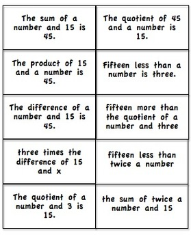 6.EE.2a Matching Activity: Translating Verbal to Expressions and  Equations