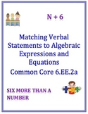 6.EE.2a Matching Activity: Translating Verbal to Expressio