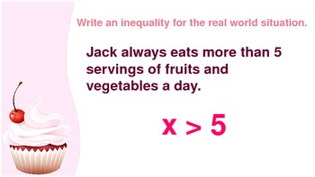 6.EE.5 Naming Inequalities in Real World Situations