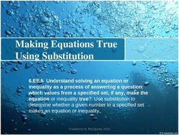 6.EE.5 Which Value Makes the Equation True?