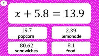 6EE7 Digital Mad Lib Math Activity (One Step Equations)