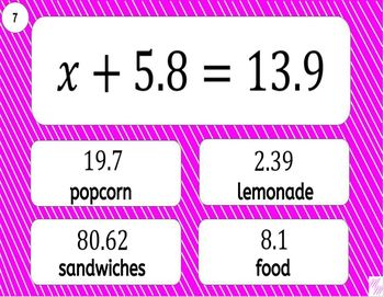 6EE7 Printable Mad Lib Math Activity (solve one-step equations)