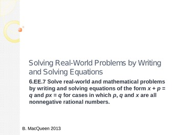 6.EE.7 Solving Equations in Real World Situations