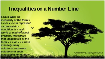 6.EE.8 Inequalities on a Number Line using Real World Situations