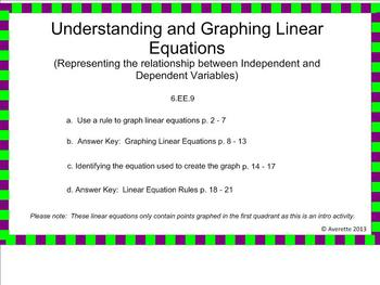 6.EE.9 Using Linear Equations to Represent the Relationshi