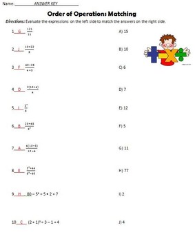 6EEA1 Order of Operations Practice and Quiz