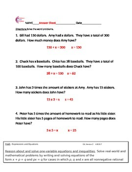 6.EE.B.7 Word Problems Common Core Math Worksheets