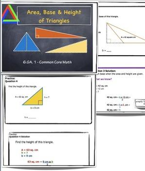 6.GA.1 Area, Base & Height Of Triangles Common Core Math Grade 6