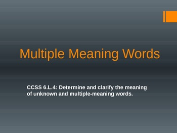 6.L.4 Sixth Grade Multiple Meaning Words