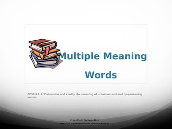 6.L.4 Sixth Grade Multiple Meaning Words (Used the Same Way)