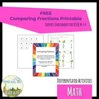 6M-NSCE 3a Comparing Unit Fractions Work Sample Pack