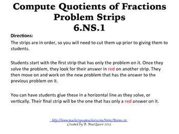 6.NS.1 Compute Quotients of Fractions Problem Strips