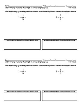 6.NS.1 - Dividing Fractions, Understanding the Reciprocal