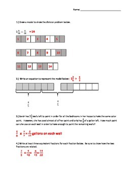 6.NS.1 Quiz Division of Fraction by Fraction