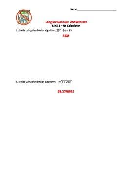 6.NS.2 Long Division Quiz