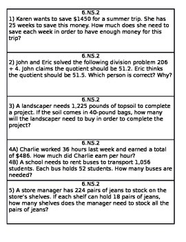 6.NS.2 worksheet with key